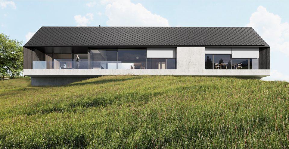 Struktura domu zapewnia widok na góry z wszystkich pomieszczeń